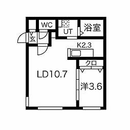 ラフィナート麻生 3階1LDKの間取り