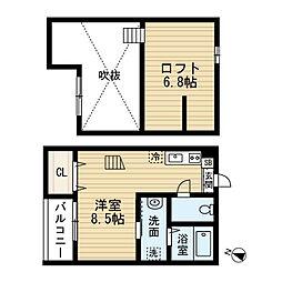 愛知県名古屋市南区豊2丁目の賃貸アパートの間取り
