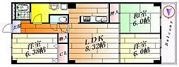 イトーピア東千里マンション[4階]の間取り