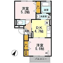 東京都町田市鶴間8丁目の賃貸アパートの間取り