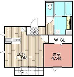 D-room博多駅南 弐番館[202号室]の間取り