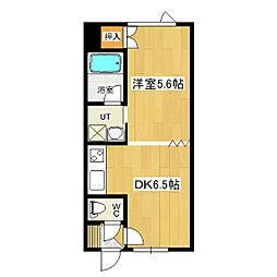 大学ハイツ5 1階1DKの間取り