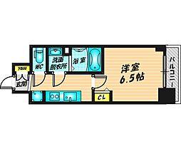 プレサンス福島ミッドエル 5階1Kの間取り