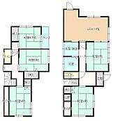 間取りは和室5室とLDKになります。1階LDK横和室をLDKと繋げ、2階和室の2部屋を洋室へ間取り変更予定です。