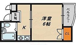 シティコーポ今福 2階1Kの間取り