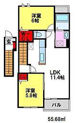 カルム・メゾンA 2階2LDKの間取り