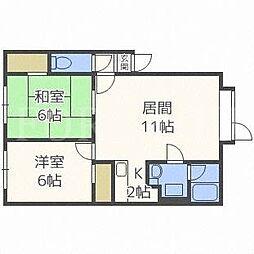 北海道札幌市東区北三十二条東1丁目の賃貸アパートの間取り