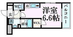 甲子園ガーデンズ 2階ワンルームの間取り