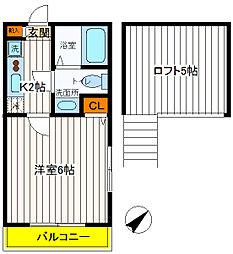 東京都立川市曙町3丁目の賃貸アパートの間取り