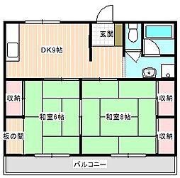 山口県下関市熊野西町の賃貸アパートの間取り