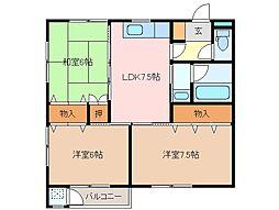 三重県松阪市田村町の賃貸アパートの間取り