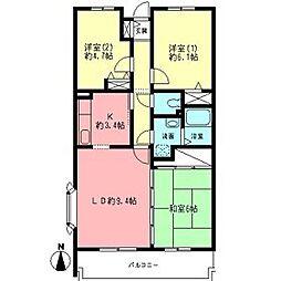 神奈川県平塚市徳延の賃貸マンションの間取り