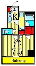 東京メトロ日比谷線 三ノ輪駅 徒歩6分の賃貸マンション 2階1Kの間取り