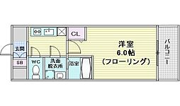 コンフォリア江坂広芝町 6階1Kの間取り