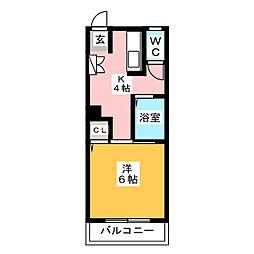 シャトーローリエ博多[1階]の間取り