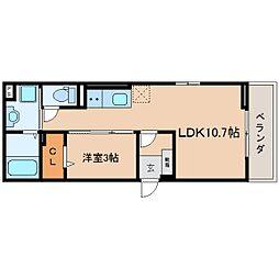 JR東海道本線 静岡駅 徒歩8分の賃貸マンション 2階1LDKの間取り