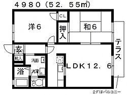 コーポ・ツインチェリーA棟[102号室号室]の間取り