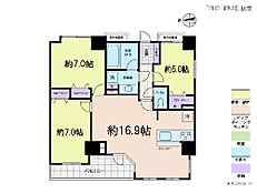3LDK・専有面積75.19平米・バルコニー面積6.91平米