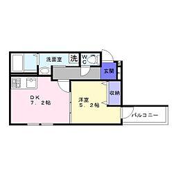 フジパレス山之内2番館[1階]の間取り