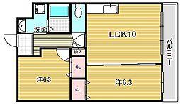 大阪府吹田市岸部北3丁目の賃貸マンションの間取り