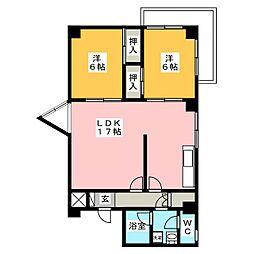 松栄レックスマンション[2階]の間取り