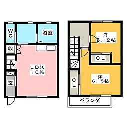 [テラスハウス] 栃木県宇都宮市インターパーク1丁目 の賃貸【/】の間取り
