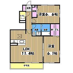 東京都羽村市羽西2丁目の賃貸アパートの間取り