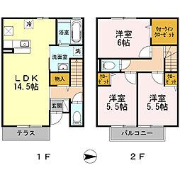 [テラスハウス] 神奈川県小田原市中里 の賃貸【/】の間取り