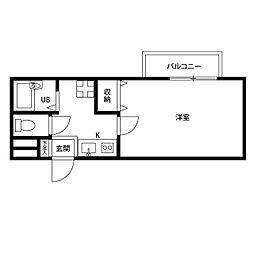 京都府京都市東山区下梅屋町の賃貸アパートの間取り