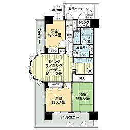 ライオンズマンション堺東[7階]の間取り