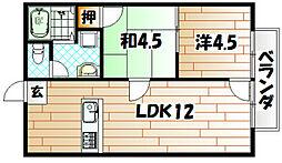 福岡県北九州市若松区高須東3丁目の賃貸アパートの間取り