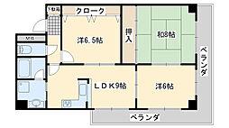大阪府泉佐野市中庄の賃貸マンションの間取り