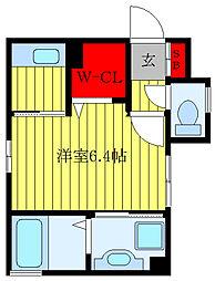 Alpha MIYOSHI 3階1Kの間取り