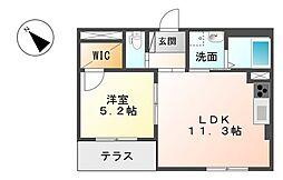 小田急小田原線 小田急相模原駅 徒歩12分の賃貸マンション 1階1LDKの間取り
