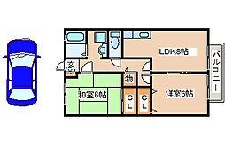 JR山陽本線 明石駅 バス15分 水谷2丁目下車 徒歩3分の賃貸アパート 2階2LDKの間取り