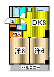 シンハイム武蔵浦和[302号室]の間取り