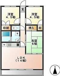 静岡県三島市芝本町の賃貸マンションの間取り