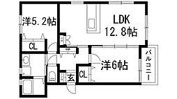 兵庫県川西市鼓が滝1丁目の賃貸アパートの間取り