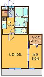 茨城県つくば市みどりの1丁目の賃貸アパートの間取り