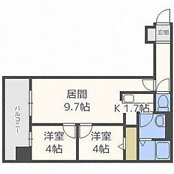 北海道札幌市豊平区月寒中央通6丁目の賃貸マンションの間取り