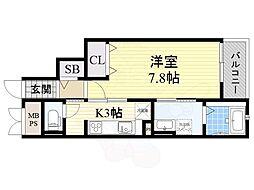 JR東海道・山陽本線 摂津富田駅 徒歩19分の賃貸マンション 3階1Kの間取り
