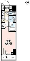 東京メトロ千代田線 湯島駅 徒歩1分の賃貸マンション 7階1Kの間取り