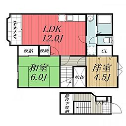 千葉県成田市御所の内の賃貸アパートの間取り