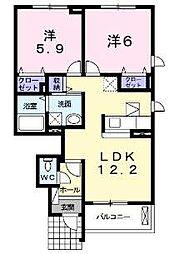 大阪府堺市西区北条町1丁の賃貸アパートの間取り