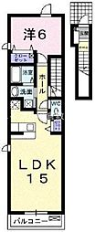 岡山県岡山市南区植松丁目なしの賃貸アパートの間取り