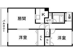 コスモB棟 3階2LDKの間取り