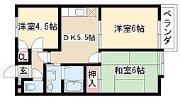 愛知県名古屋市緑区有松町大字桶狭間字愛宕西の賃貸アパートの間取り
