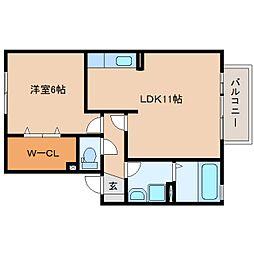 静岡県焼津市西小川の賃貸アパートの間取り