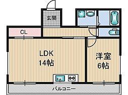 タウンズマンション下村 2階1LDKの間取り