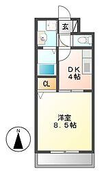 ベルドミールキタハタ[1階]の間取り